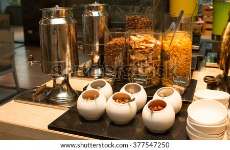 Dry breakfast in assortment as the background.