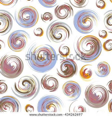 Dry brush hand drawn sketch artsy background, seamless pattern in pastel colours, messy grunge brush strokes, circles and swirls on white background.