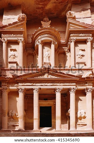 "Dry Brush Painting Beautiful Exterior Ancient Nabataean Al-Khazneh ""The Treasury"" in The Rose City of Petra, Jordan on Sandstone Texture - stock photo"