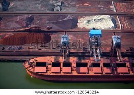 Dry bulk port terminal - stock photo
