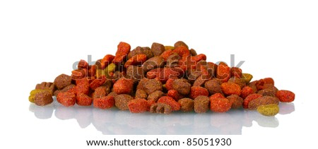 Dry cat food isolated on white - stock photo