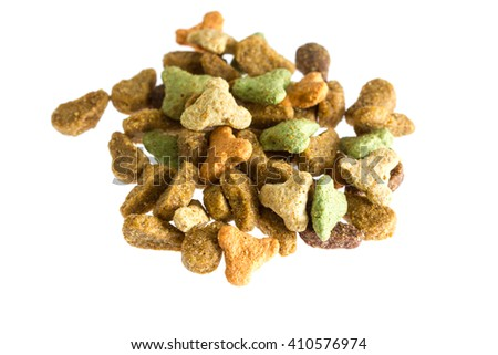 Dry cat food. Isolated on white background closely. - stock photo