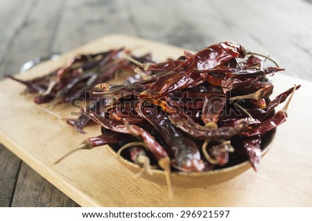Dry Chili on wood table
