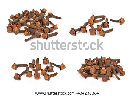dry cloves on white background