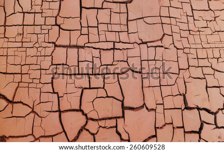 Dry cracked earth background, clay desert texture - stock photo