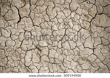 Dry cracked earth background, clay desert texture. - stock photo