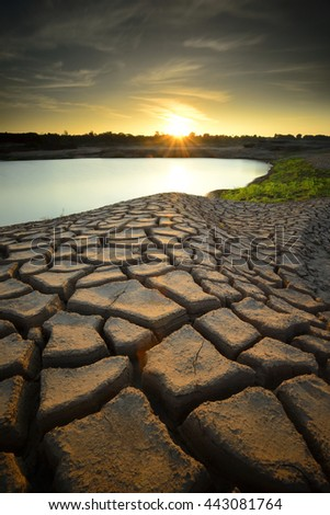 dry cracks in the land, serious water shortages  - stock photo