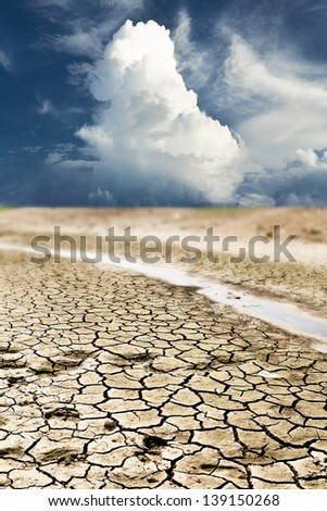 dry cracks in the land, serious water shortages, deteriorating natural environment
