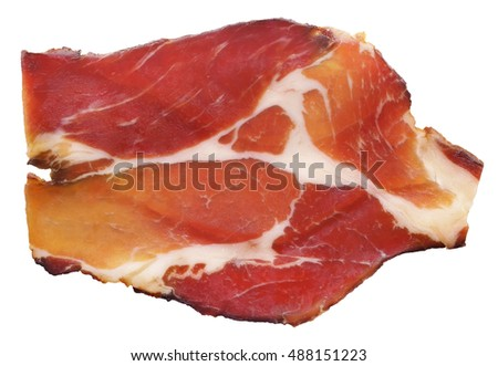 Dry Cured Pork Neck Slice Isolated On White Background