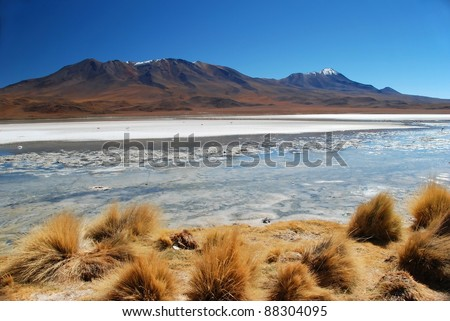 Dry Desert landscape with lake in Bolivia - stock photo