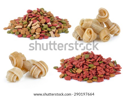 dry dog food and Artificial a bone for a dog on white background - stock photo
