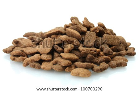 dry dog food isolated on white