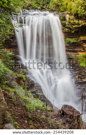 Dry falls in North Carolina in spring - stock photo