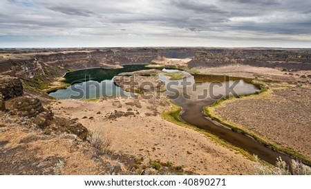 Dry Falls in the Sun Lakes State Park, Washington, USA - stock photo