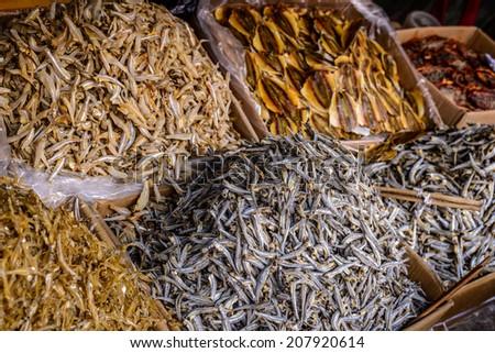 Dry fish in Vietnam - stock photo