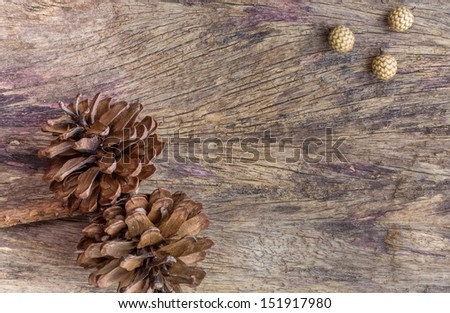 Dry flowers frame on wooden background with copy space