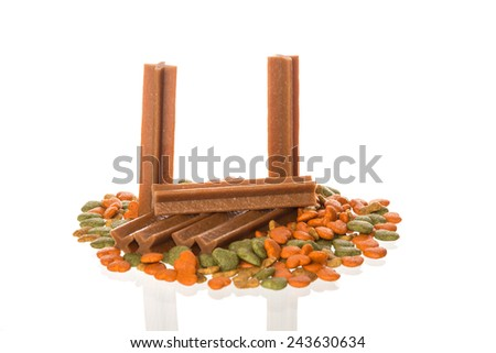 dry food for dogs  on white background - stock photo