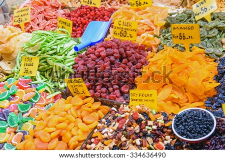 Dry fruits at the Spice market in Istanbul, Turkey - stock photo