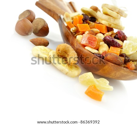 Dry Fruits Mix In A Wooden Dish - stock photo
