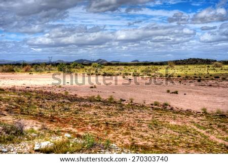Dry Gila river bed Sonora desert in central Arizona USA - stock photo
