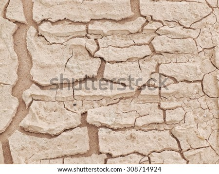 Dry ground,land cracked close up texture. - stock photo