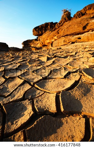Dry ground on global warming.