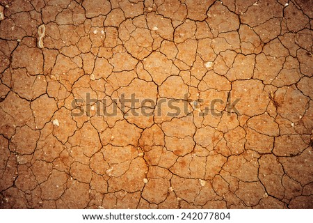 Dry ground with cracks from dryness background texture - stock photo