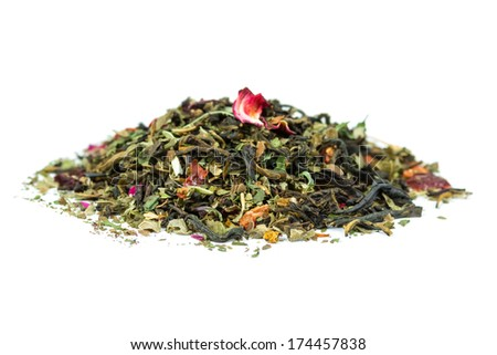 Dry herbal tea isolated on white background  - stock photo