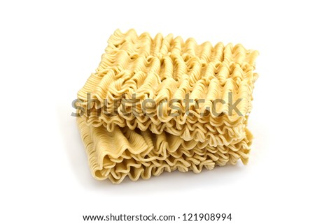 Dry instant noodle isolated on white background - stock photo