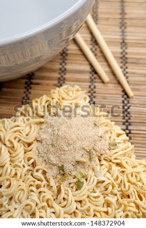 dry instant noodles ready for cook - stock photo
