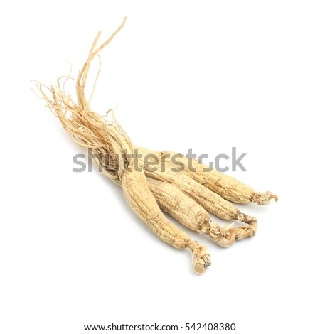 Dry Korean ginseng isolated on white background.