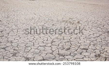 Dry land. Cracked ground background. - stock photo