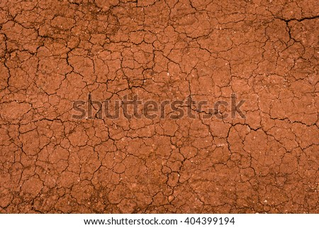 Dry land surface with cracks in the summer - stock photo