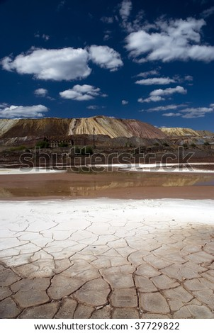 Dry landscape in vertical composition. - stock photo