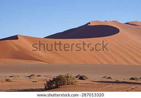 Dry landscape with sand dunes seen in Sossusvlei Park in Namibia