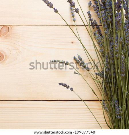 dry lavender over wood background - stock photo