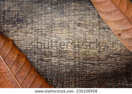 dry leaves in the corner with an old cracked wooden background - stock photo