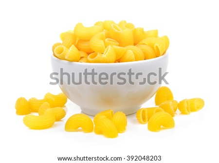 dry macaroni in the white bowl