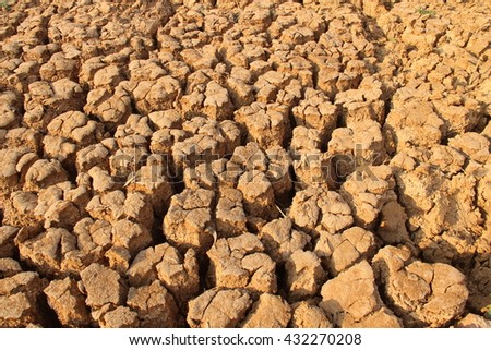 Dry mud and cracked soil texture in drought.Selective focus. - stock photo
