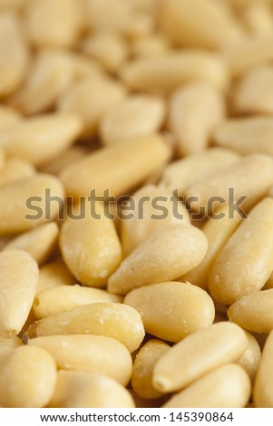 Dry Organic Pine Nuts on a Background