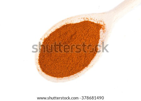 dry paprika on a spoon on a white background - stock photo