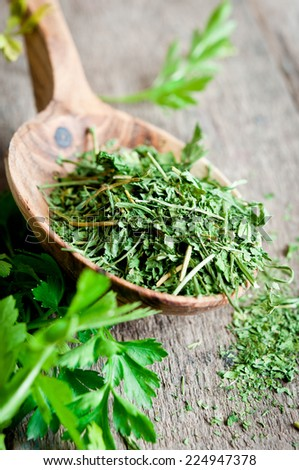 Dry parsley on a wooden spoon