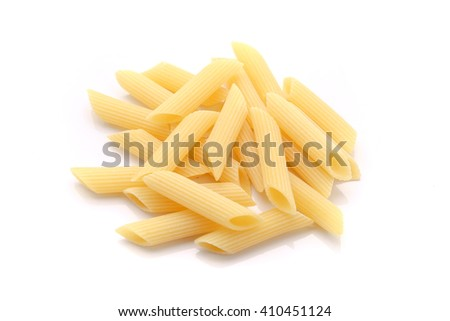 Dry pasta isolated on white