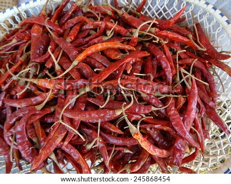 dry pepper in basket  from Thailand - stock photo