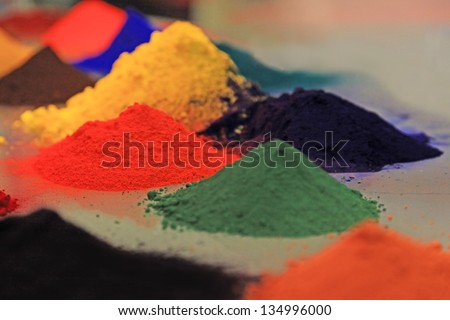 Dry Pigments Powder for the Preparation of Different Colours - stock photo