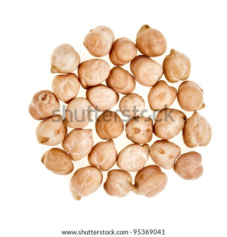 Dry raw chickpeas isolated on white background