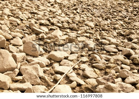 Dry riverbed in drought hit area - stock photo