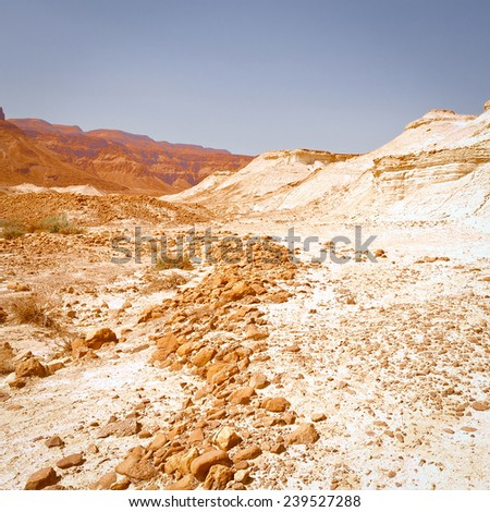 Dry Riverbed in the Judean Desert, Instagram Effect - stock photo