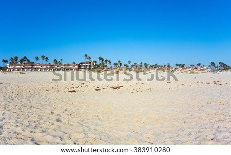 Dry sand with tropical palms of Mandalay beach on ocean side of Oxnard, Southern California