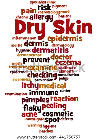 Dry Skin, word cloud concept on white background.